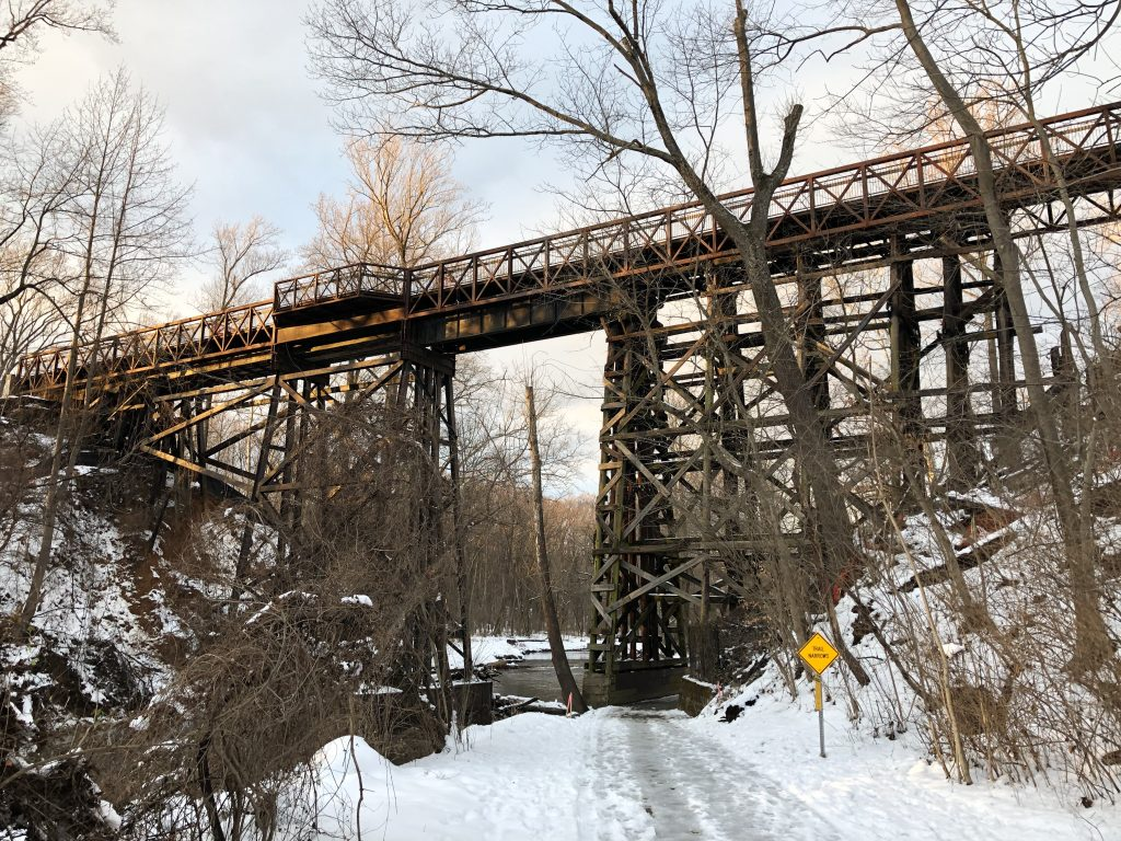 The Rock Creek Trestle, as it stands on January 16, 2019. The trestle is currently in the process of being demolished.