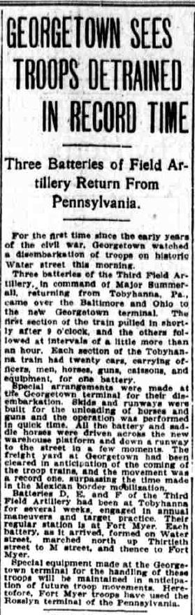 Washington Times article from Oct 18, 1912 chronicling the movement of troops from PA to DC via Georgetown on the B&O.